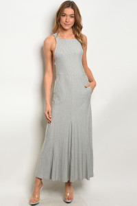 114-2-3-D1047 IVORY GRAY STRIPES DRESS 3-2-1