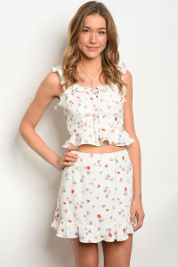 135-4-3-SET1424 OFF WHITE FLORAL TOP & SKIRT SET 4-2-1