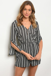 S9-13-1-R9669 BLACK WHITE STRIPES ROMPER 2-2-2