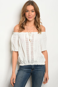 114-4-2-T1017 OFF WHITE OFF SHOULDERS TOP 1-1-2