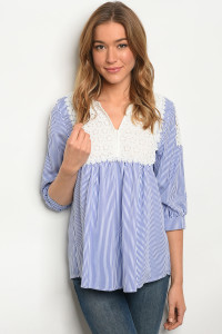 S9-13-4-T1038 WHITE BLUE STRIPES TOP 2-2-2