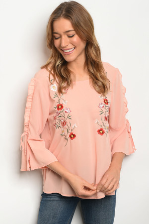 S9-13-3-T9709 PEACH WITH FLOWER TOP 2-2-2