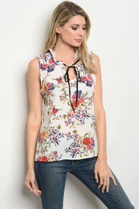 C56-B-1-T9342 WHITE FLORAL TOP 1-2