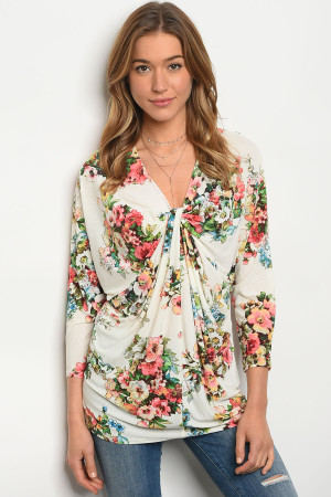 126-1-1-T1244 IVORY FLORAL TOP 2-2-2