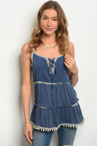 S9-13-2-T2212 DENIM BLUE TOP 2-2-2