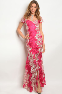 132-3-1-D3168 FUCHSIA IVORY DRESS 2-2