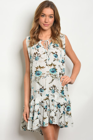 S10-2-2-D3660 IVORY TURQUOISE FLORAL DRESS 2-2-2