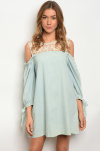 S11-3-3-D3985 LIGHT BLUE DENIM DRESS 2-2-2