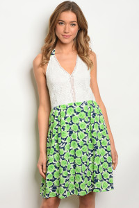 S16-12-4-D262 WHITE GREEN DRESS 3-2-3