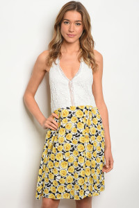 114-5-4-D262 WHITE YELLOW DRESS 2-2-2