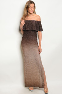 Y-B-D7189 BROWN WITH SHIMMER DRESS 2-2-2