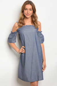S9-20-3-D2124 DARK BLUE DENIM DRESS 4PCS