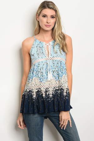 114-2-3-T23907 BLUE NAVY FLORAL TOP 2-2-2