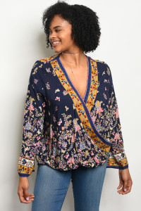 S9-15-4-T23780X NAVY FLORAL PLUS SIZE TOP 3-2-1