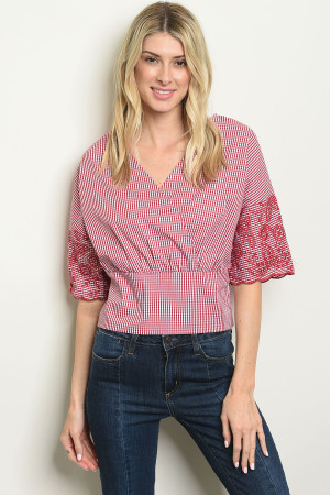 S9-16-5-T25203 RED WHITE CHECKERED TOP 2-2-2