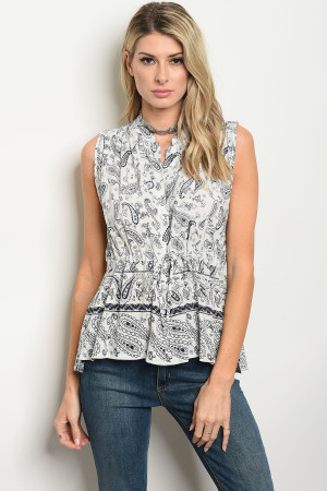 135-4-4-D9465 OFF WHITE BLUE TOP 2-2-2