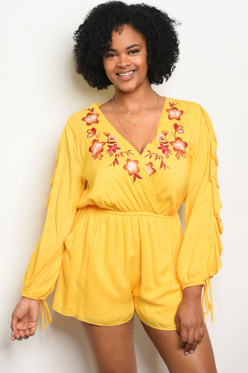 106-5-1-R38619X YELLOW FLORAL PLUS SIZE ROMPER 2-2-2