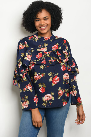 113-3-4-T81034X NAVY FLORAL PLUS SIZE TOP 2-2-2