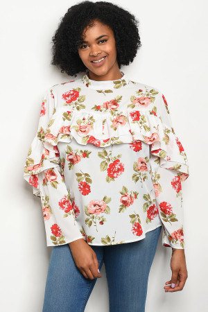 113-3-4-T81034X IVORY FLORAL PLUS SIZE TOP 2-2-2