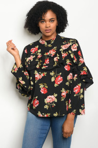 112-4-2-T81034X BLACK FLORAL PLUS SIZE TOP 2-2-2