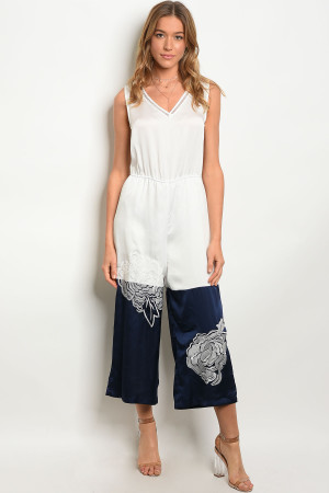 110-3-4-J32 WHITE NAVY JUMPSUIT 2-2-2