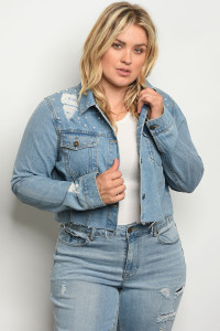 109-2-4-J7165X BLUE DENIM PLUS SIZE JACKET 1-1-2-2
