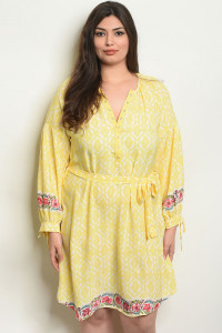 108-3-3-D51416X YELLOW PLUS SIZE DRESS 2-2-2
