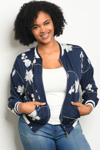 126-2-5-J51388X NAVY WHITE PLUS SIZE JACKET 2-2-2