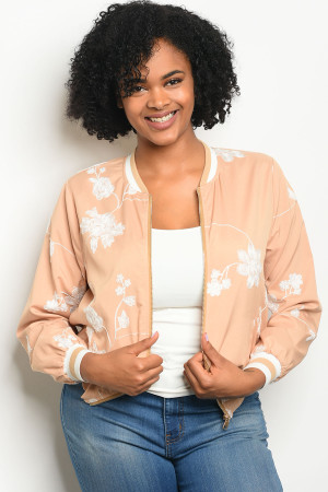 126-2-5-J51388X TAUPE WHITE PLUS SIZE JACKET 2-2-2