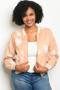112-4-2-J51388X TAUPE WHITE PLUS SIZE JACKET 3-1-1