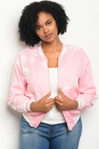 108-2-2-J51388X PINK WHITE PLUS SIZE JACKET 2-2-2