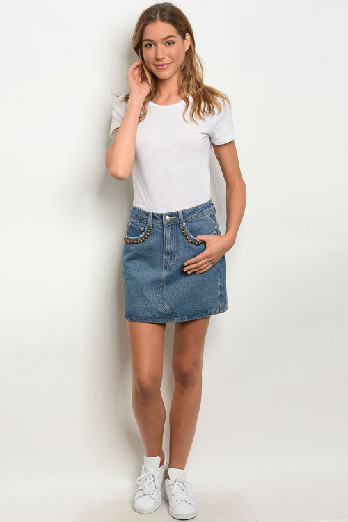 S12-4-2-S0011 BLUE DENIM SKIRT 2-2-2