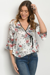 S18-1-1-T50095 WHITE FLORAL TOP 2-2-2