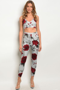 C24-A-3-SET361 GRAY WINE WITH ROSES PRINT TOP & PANTS SET 2-2-2