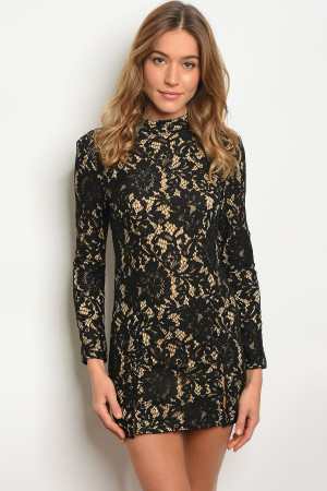 126-1-1-D3533 BLACK TAN DRESS 3-2-1
