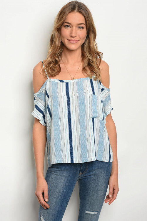 105-2-1-T12184 BLUE STRIPES TOP 2-2-1