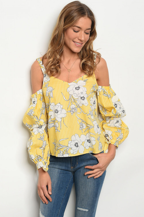106-5-2-T13449 YELLOW FLORAL TOP 3-2-1