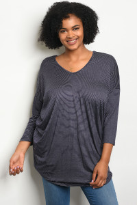 C78-A-3-T5536X NAVY WITH STRIPES PLUS SIZE TOP 2-2-2