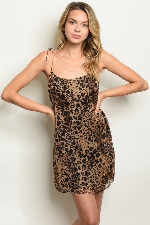 S17-4-1-NA-D74775 BROWN LEOPARD PRINT DRESS 1-2-2-1