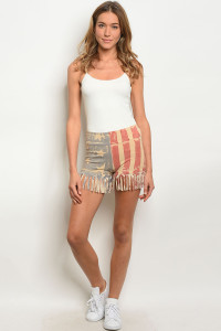 109-1-3-S72624 TAUPE AMERICAN FLAG PRINT SHORT 2-2-2