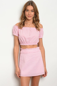120-11-NA-SET74899 PINK TOP & SKIRT SET  1-2-2-1