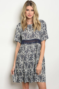 S14-7-4-D1393 IVORY NAVY FLORAL DRESS 2-2-2