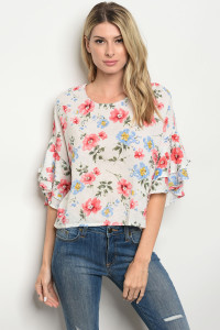 S12-8-1-T474 WHITE FLORAL TOP 2-2-2