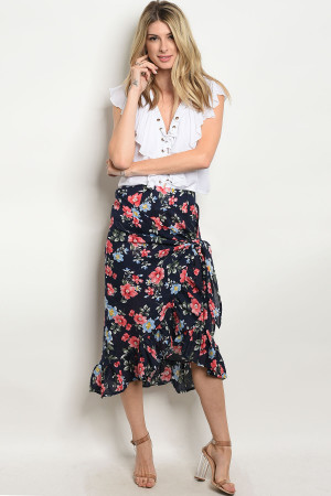 124-3-3-S480 NAVY FLORAL SKIRT 2-2-2