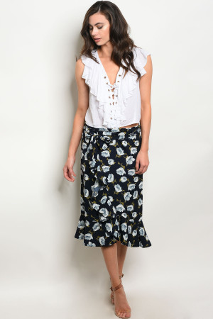 S9-20-2-S491 NAVY FLORAL SKIRT 2-2-2