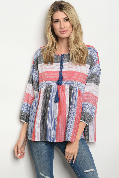 107-1-3-T4286 RED BLACK STRIPES TOP 2-2-2