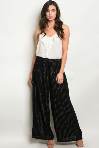 124-3-1-P12828 BLACK SILVER STRIPES PANTS 3-2-1