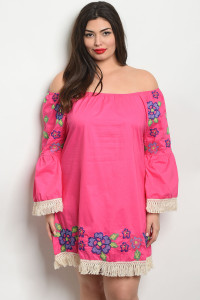 S10-16-4-D509X FUCHSIA PLUS SIZE DRESS 2-2-2
