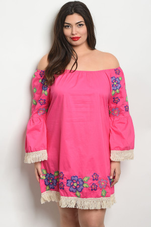 1S10-16-4-D509X FUCHSIA PLUS SIZE DRESS 2-2-2