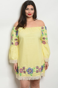 S10-16-4-D509X YELLOW PLUS SIZE DRESS 2-2-2